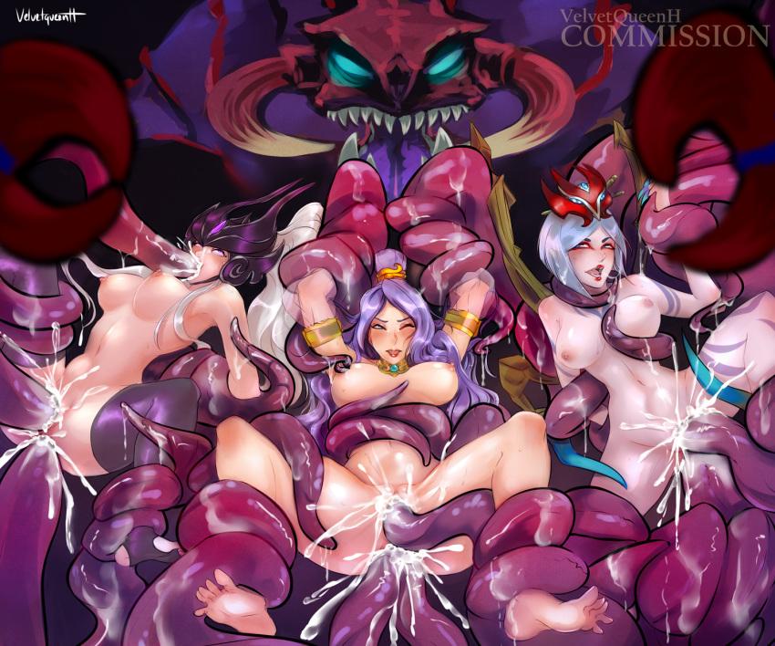 Photo of Cho'Gath, Syndra, Order of the Lotus Irelia & Blood Moon Elise